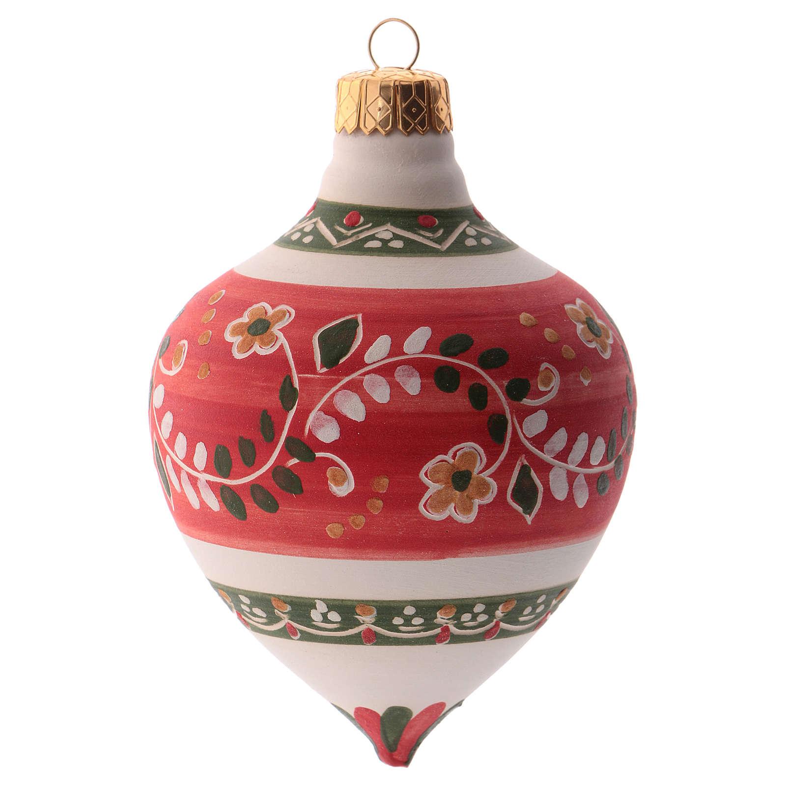 Pallina per albero Natale rossa con punta 100 mm in ceramica Deruta 4