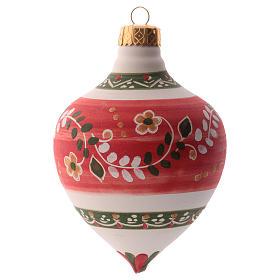 Pallina per albero Natale rossa con punta 100 mm in ceramica Deruta s2