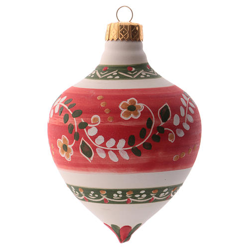 Pallina per albero Natale rossa con punta 100 mm in ceramica Deruta 2