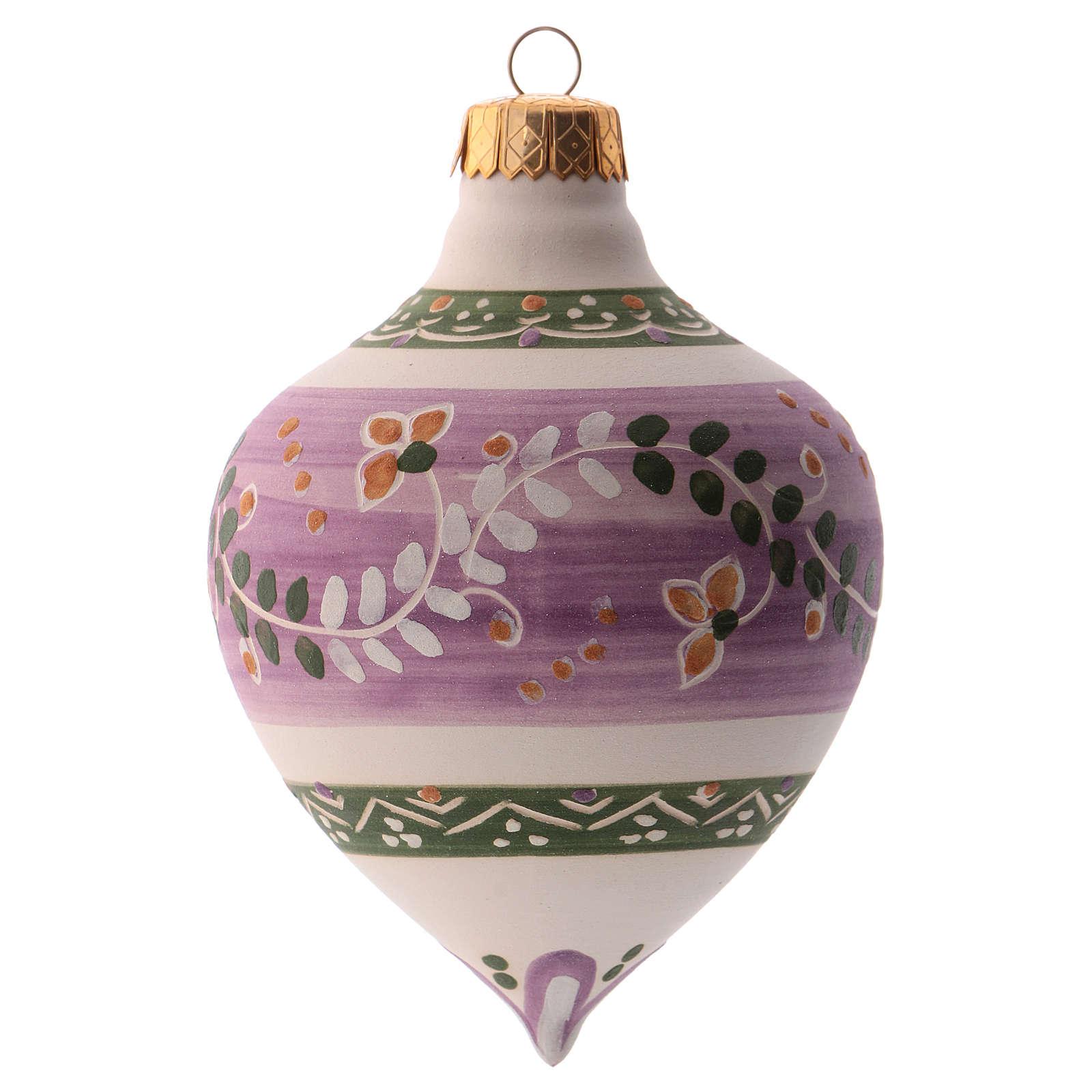 Bola para árbol Navidad lila con punta 100 mm de cerámica Deruta 4