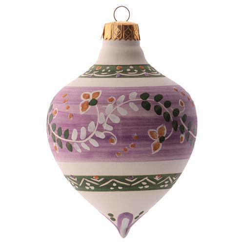 Bola para árbol Navidad lila con punta 100 mm de cerámica Deruta 1