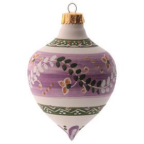 Pallina per albero Natale lilla con punta 100 mm in ceramica Deruta s2