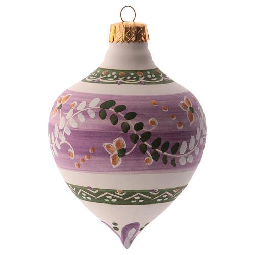 Pallina per albero Natale lilla con punta 100 mm in ceramica Deruta 2