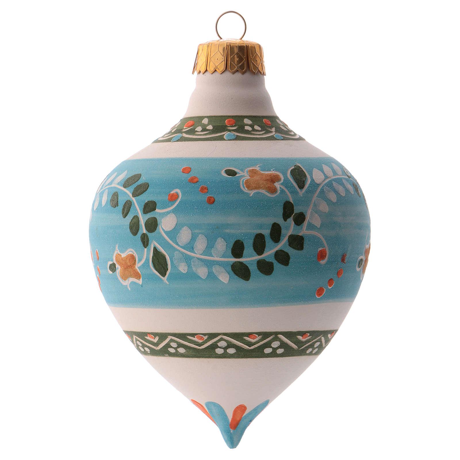 Bola para árbol Navidad azul con punta 100 mm de cerámica Deruta 4