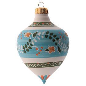 Pallina per albero Natale azzurra con punta 100 mm in ceramica Deruta s1