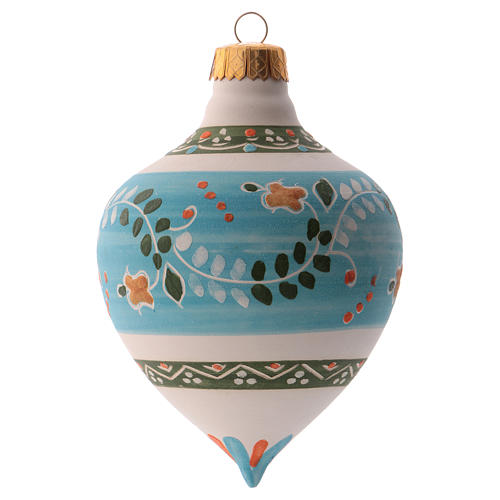 Pallina per albero Natale azzurra con punta 100 mm in ceramica Deruta 2
