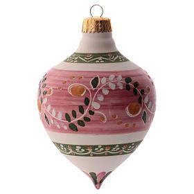 Bola para árbol Navidad rosa con punta 100 mm de cerámica Deruta s1