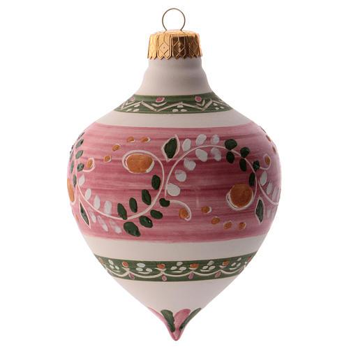 Bola para árbol Navidad rosa con punta 100 mm de cerámica Deruta 1