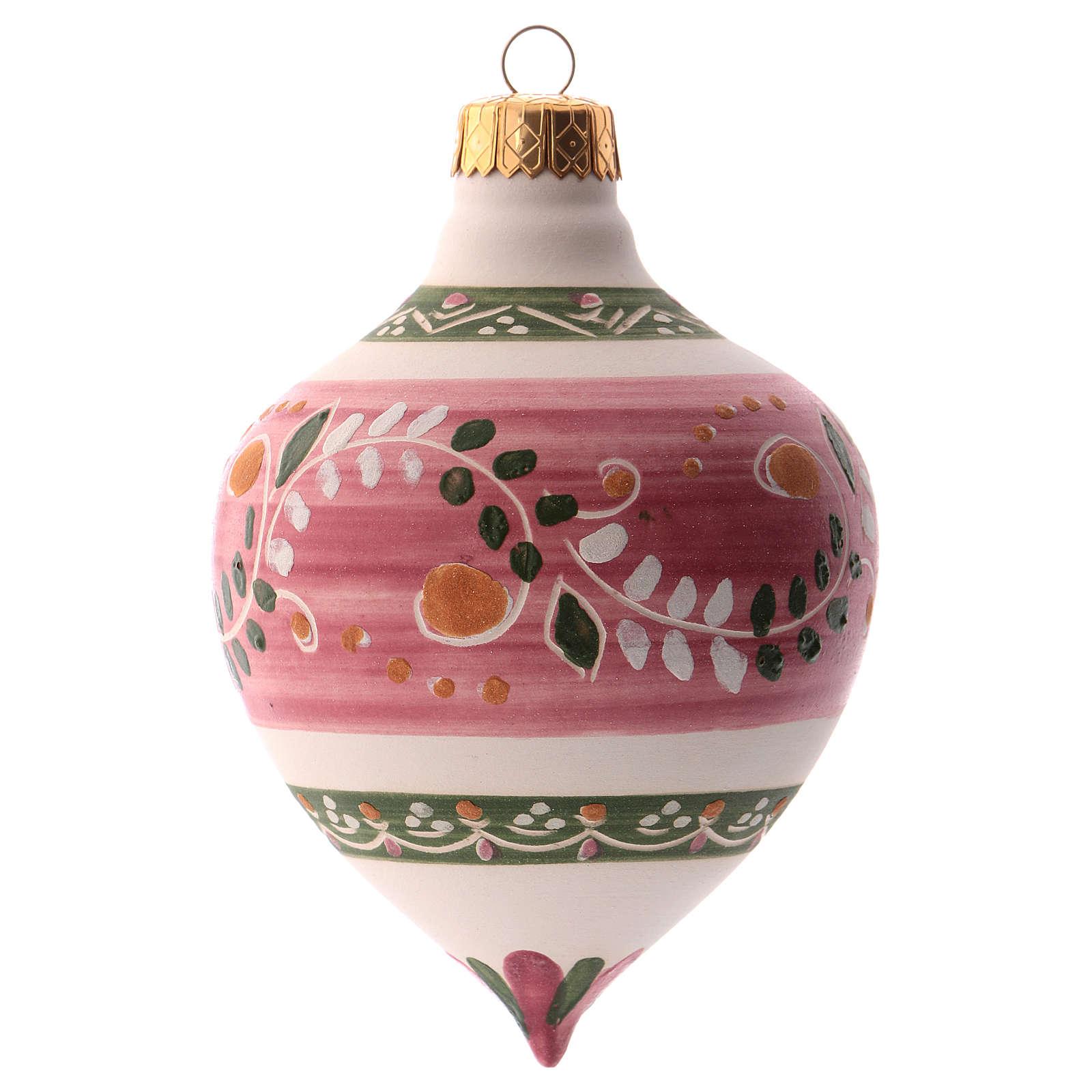 Pallina per albero Natale rosa con punta 100 mm in ceramica Deruta 4