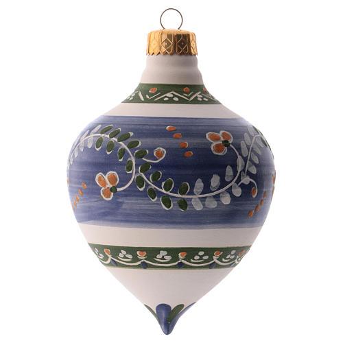 Bola para árbol Navidad azul con punta 100 mm de cerámica Deruta 2