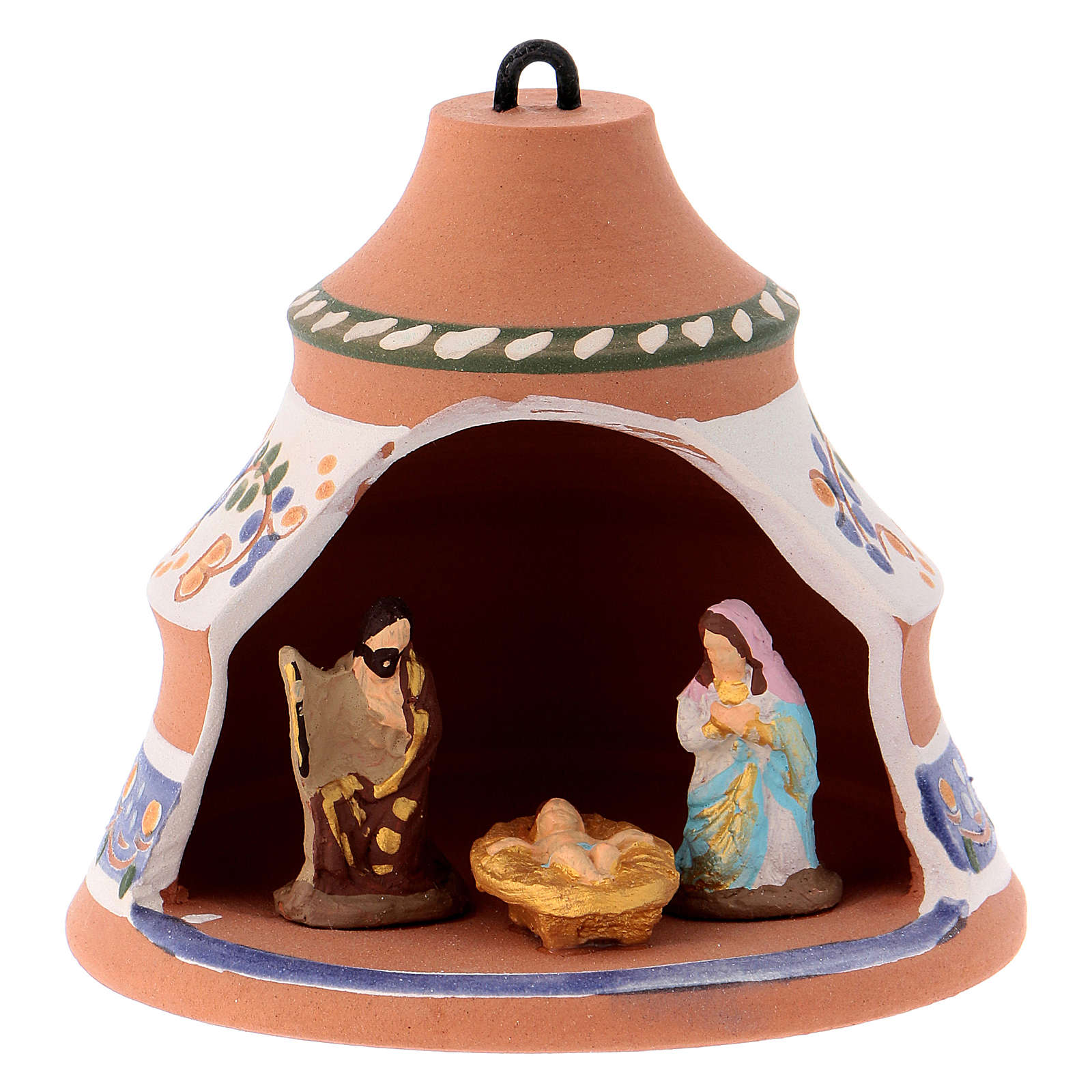Bola forma de pino de cerámica pintada Deruta natividad 10x10x10 cm 4