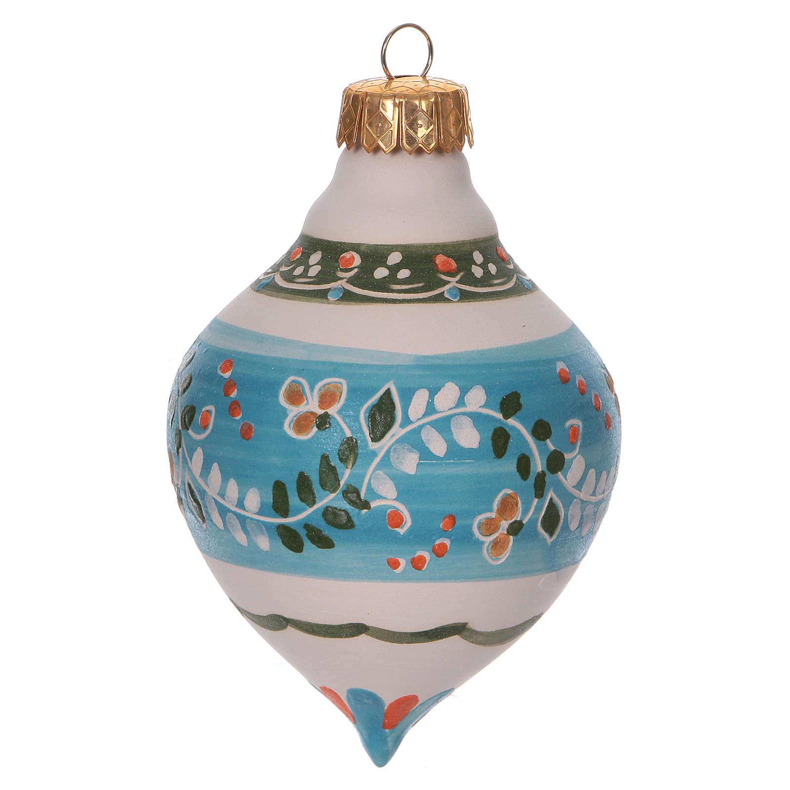 Bola con doble punta celeste para Navidad de terracota 120 mm 4