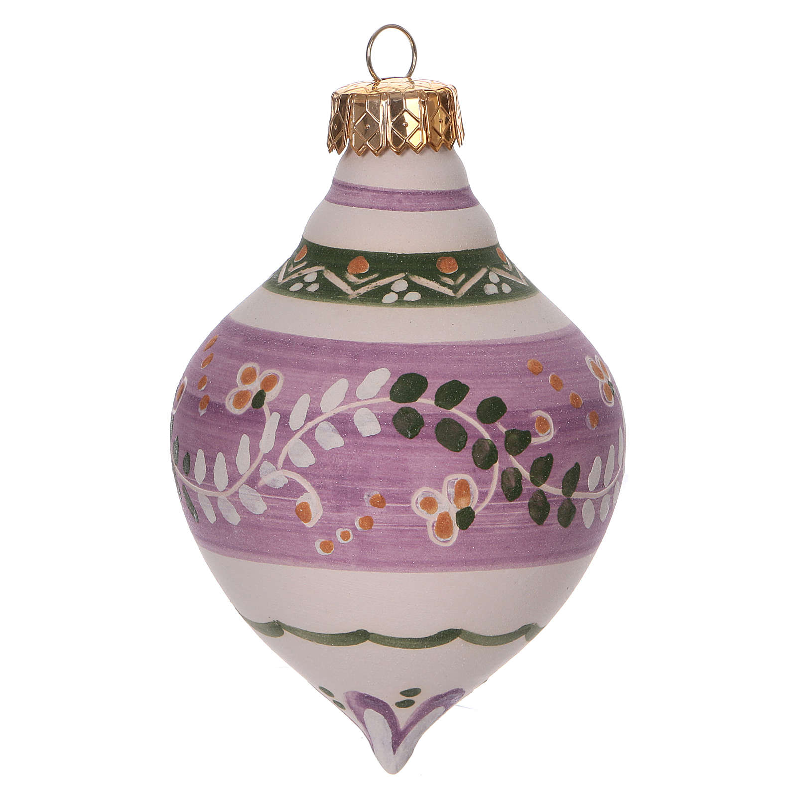 Double-pointed liliac ball for Christmas in terracotta 120 mm made in Deruta 4