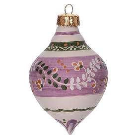 Double-pointed liliac ball for Christmas in terracotta 120 mm made in Deruta s1