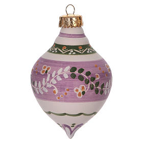 Double-pointed liliac ball for Christmas in terracotta 120 mm made in Deruta s2