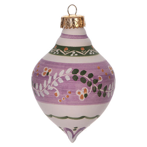 Double-pointed liliac ball for Christmas in terracotta 120 mm made in Deruta 2