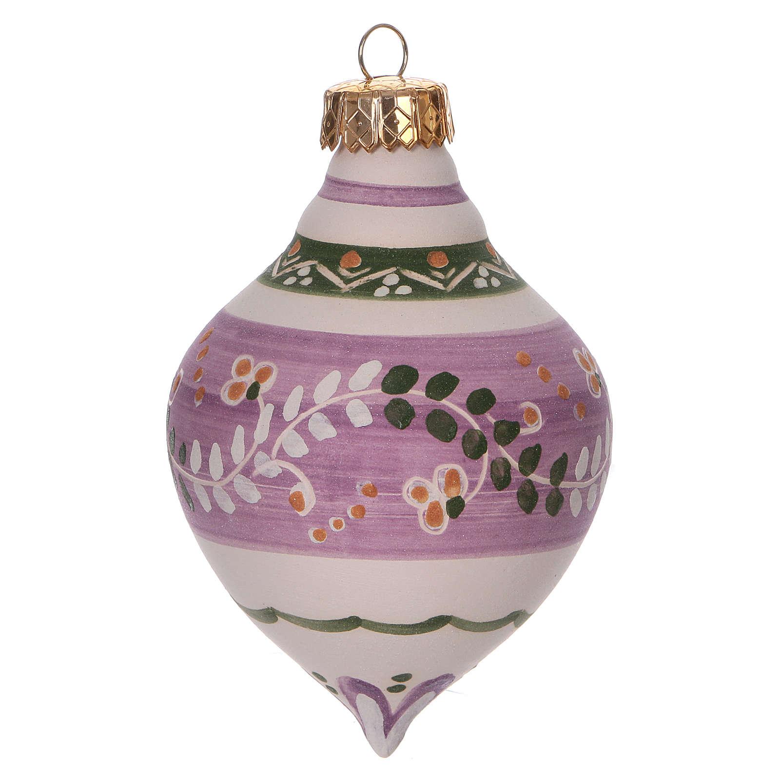 Bola con doble punta lila para Navidad de terracota 120 mm 4
