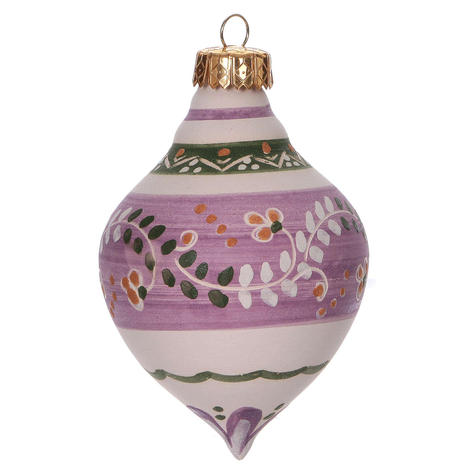 Pallina a doppia punta lilla per Natale in terracotta 120 mm 4