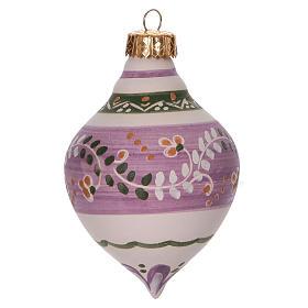 Pallina a doppia punta lilla per Natale in terracotta 120 mm s1
