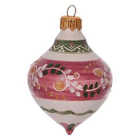 Boule à double pointe rose pour Noël en terre cuite 120 mm s2