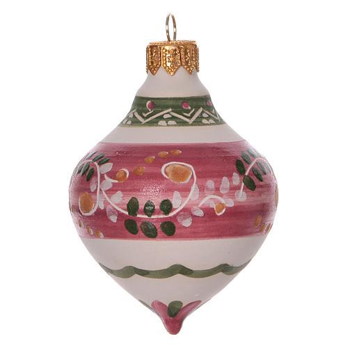 Boule à double pointe rose pour Noël en terre cuite 120 mm 1