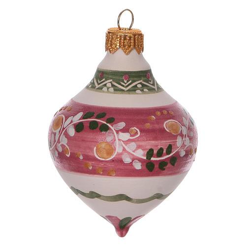 Boule à double pointe rose pour Noël en terre cuite 120 mm 2