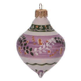 Double-pointed liliac ball for Christmas in terracotta 100 mm made in Deruta s1