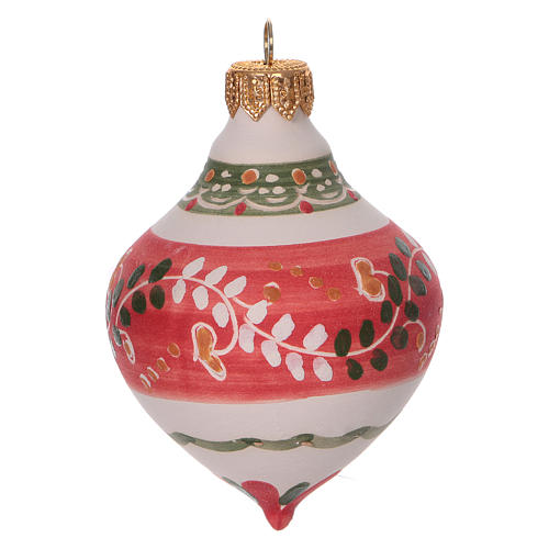 Double-pointed red ball for Christmas in terracotta 100 mm made in Deruta 1