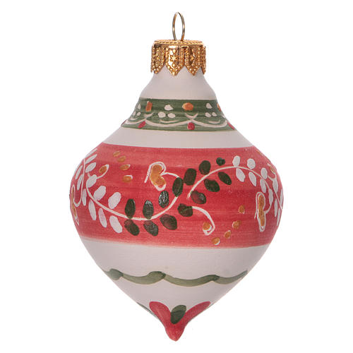 Double-pointed red ball for Christmas in terracotta 100 mm made in Deruta 2