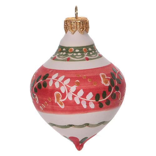 Bola con doble punta roja para árbol Navidad de terracota 100 mm 1