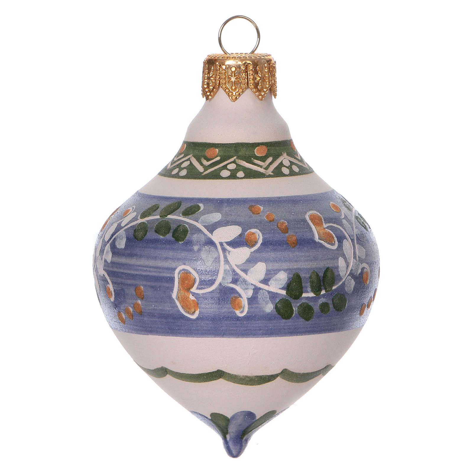 Double-pointed liliac ball for Christmas in terracotta 100 mm made in Deruta 4