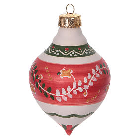 Double-pointed red ball for Christmas in terracotta 120 mm made in Deruta s1