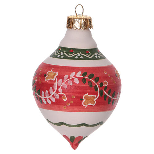 Double-pointed red ball for Christmas in terracotta 120 mm made in Deruta 2