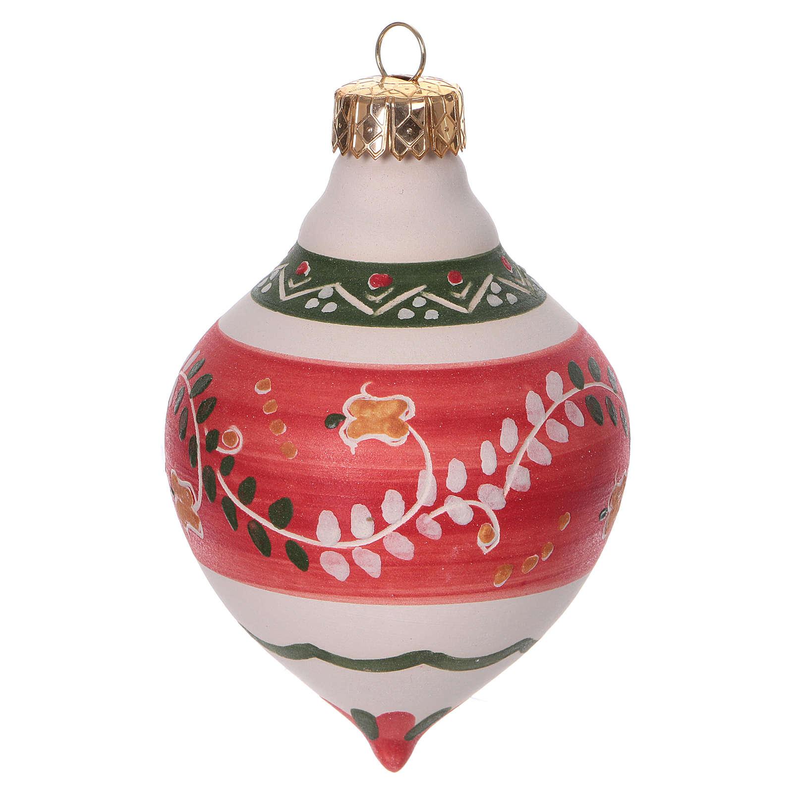 Bola con doble punta roja para árbol Navidad de terracota 120 mm 4