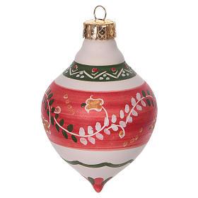 Bola con doble punta roja para árbol Navidad de terracota 120 mm s1