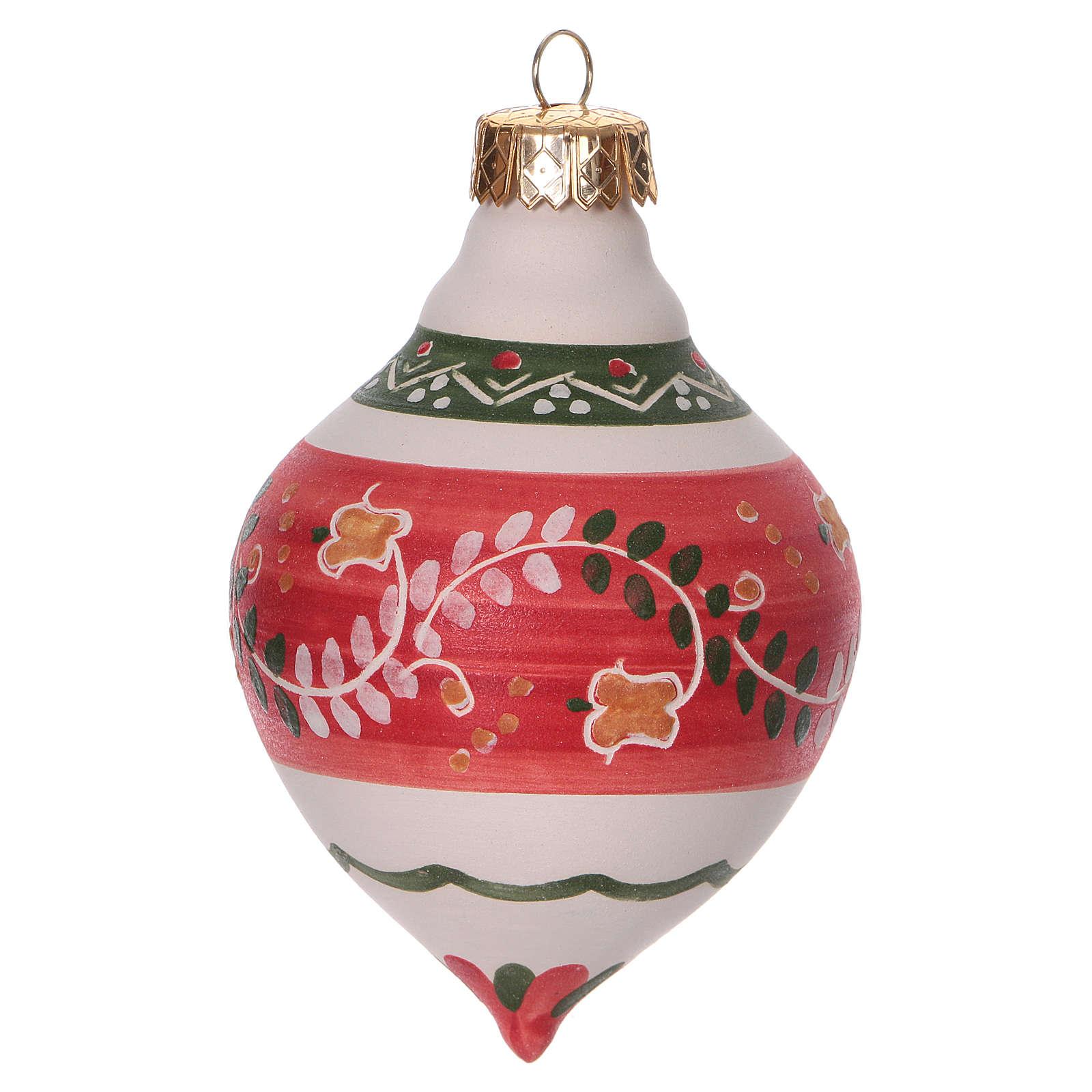 Pallina a doppia punta rossa per albero Natale in terracotta 120 mm 4