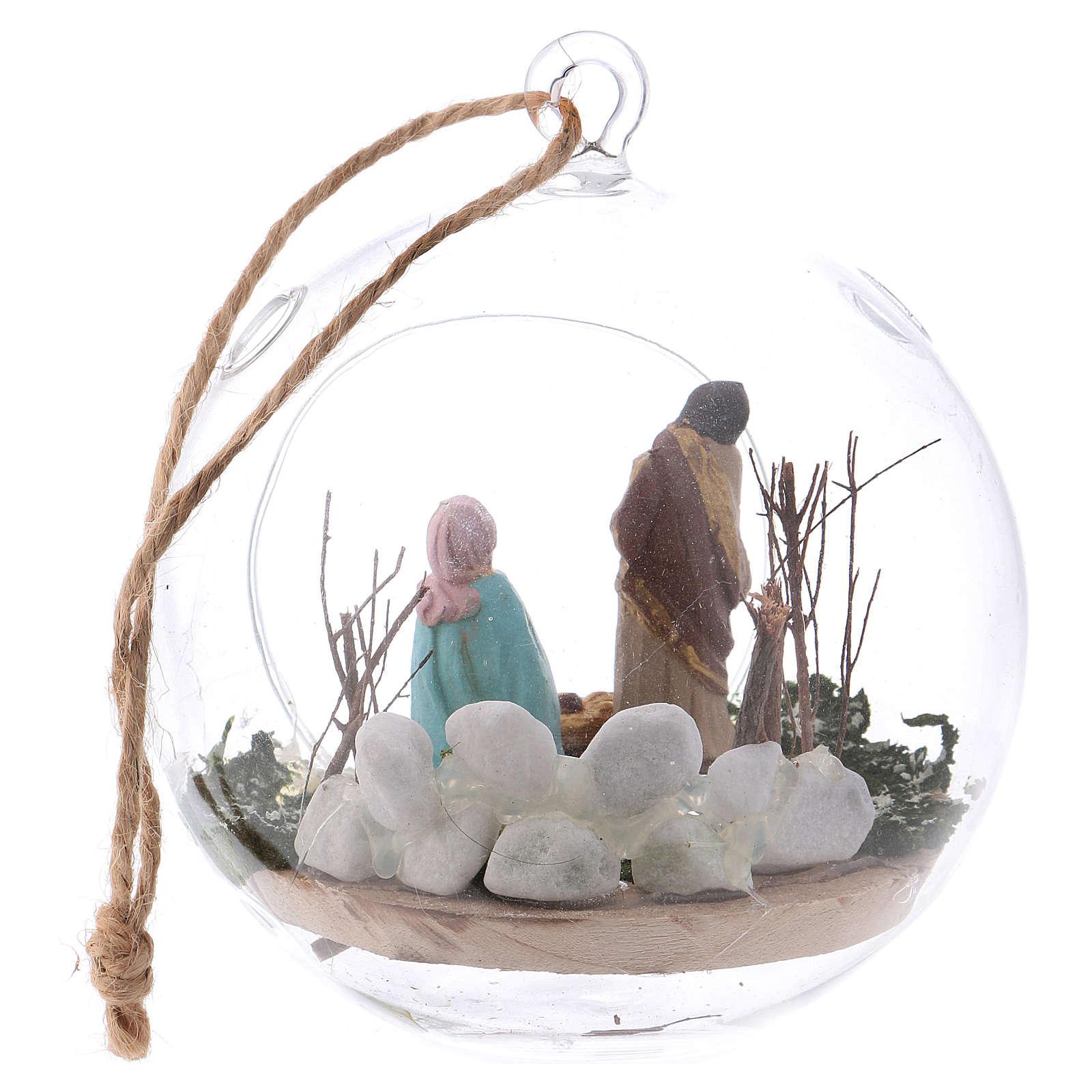 Glass ball with Nativity scene 130 mm Deruta 4