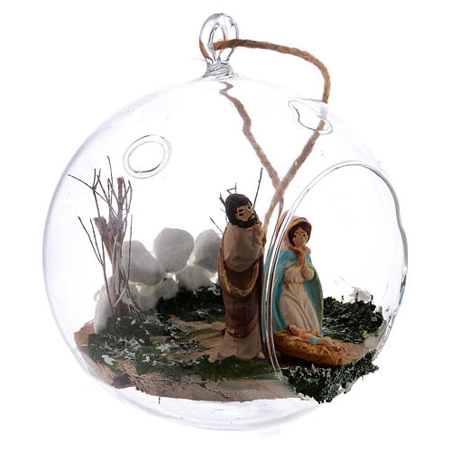 Glass ball with Nativity scene 130 mm Deruta 3