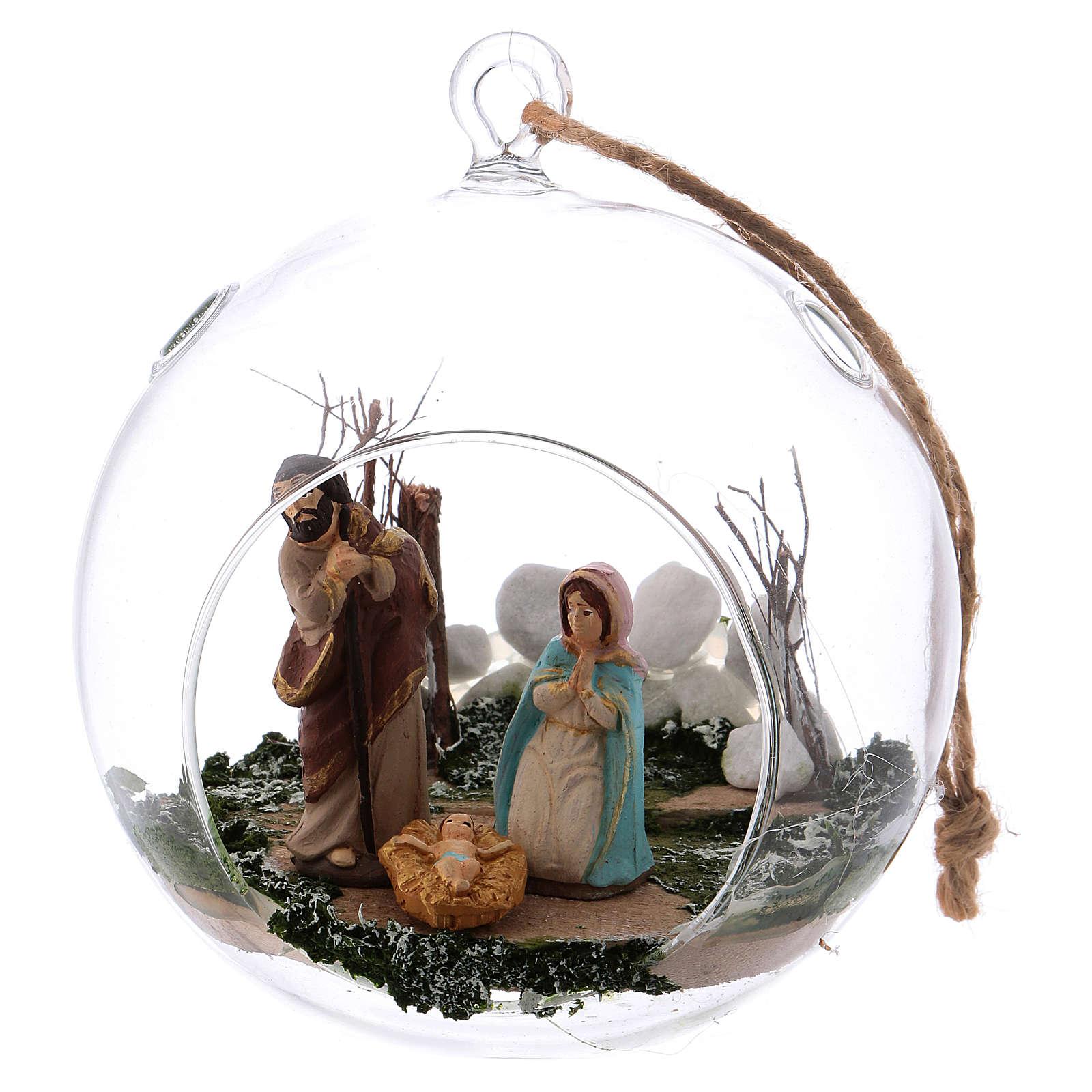 Boule en verre avec Nativité crèche 130 mm Deruta 4