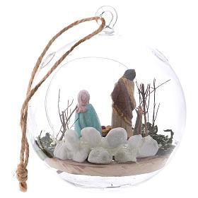 Boule en verre avec Nativité crèche 130 mm Deruta s5