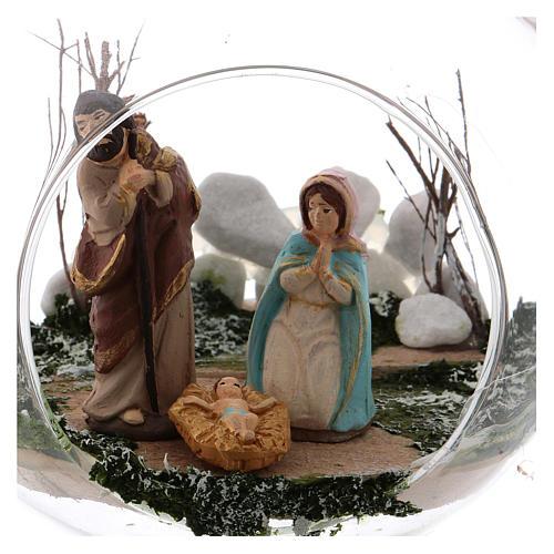 Boule en verre avec Nativité crèche 130 mm Deruta 2