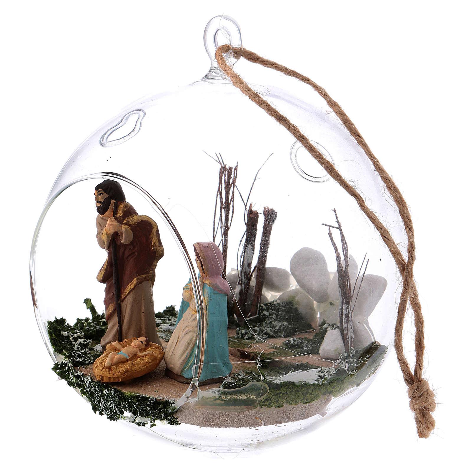 Palla in vetro con Natività presepe 130 mm Deruta 4