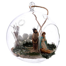 Glass ball with Holy Family 130 mm Deruta s3