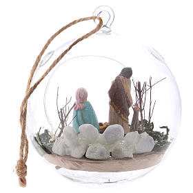 Glass ball with Holy Family 130 mm Deruta s5