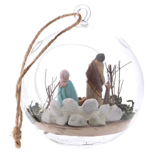 Glass ball with Holy Family 130 mm Deruta 5