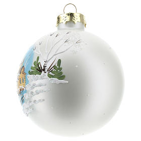 Christmas ball with winter landscape 8 cm s2