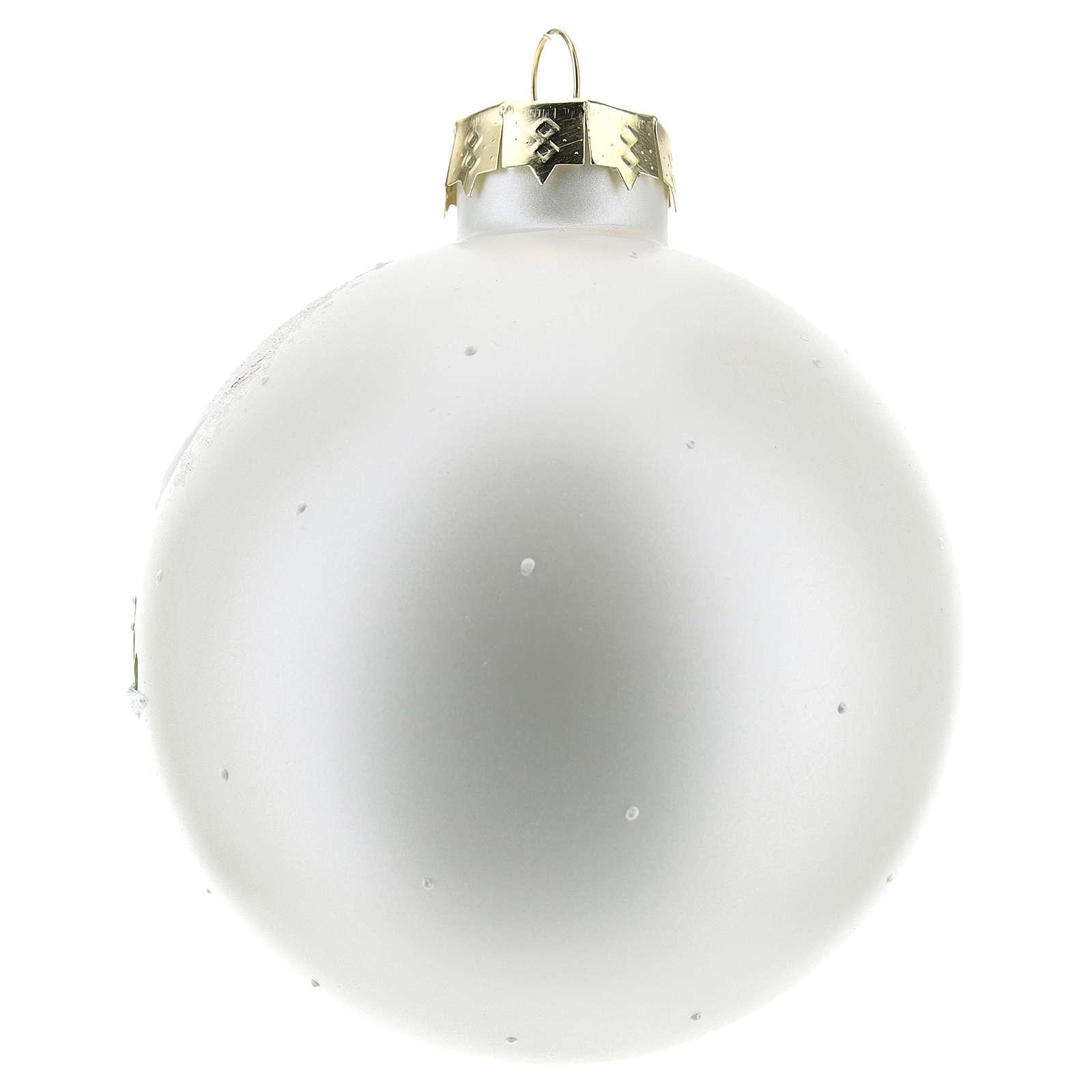 Bola de Navidad con paisaje invernal 80 mm 4