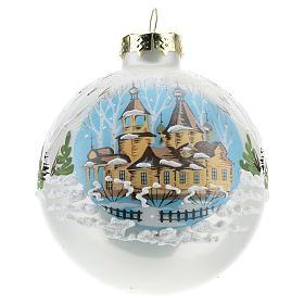 Boule de Noël avec paysage hivernal 80 mm s1