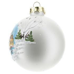 Boule de Noël avec paysage hivernal 80 mm s2