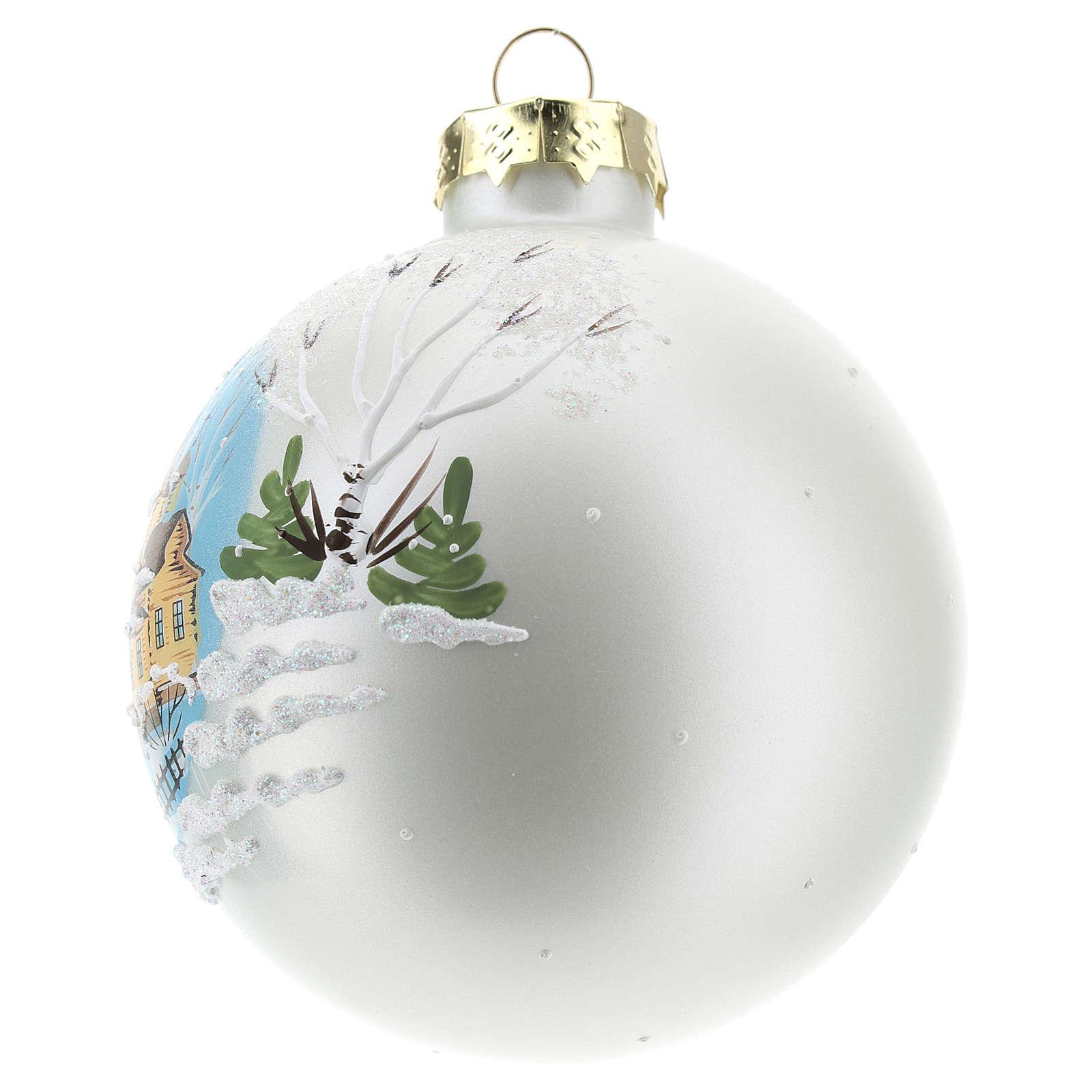 Pallina di Natale con paesaggio invernale 80 mm    4